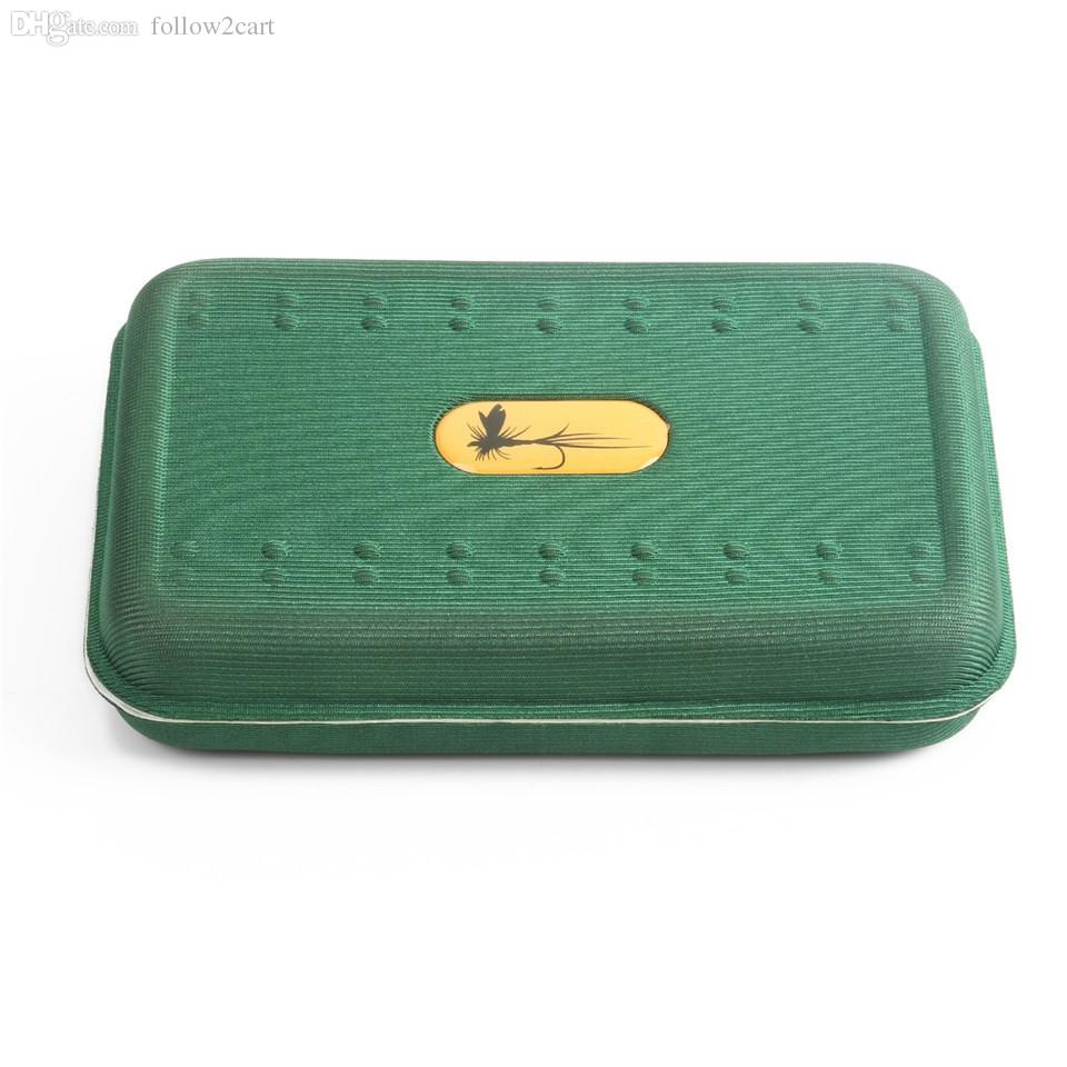 Light Buoyant EVA Foam Fly Fishing Box 146x94x32mm Green Fly Bait Lures Trout Storage Fishing Tackle Box Double Sides No Flies
