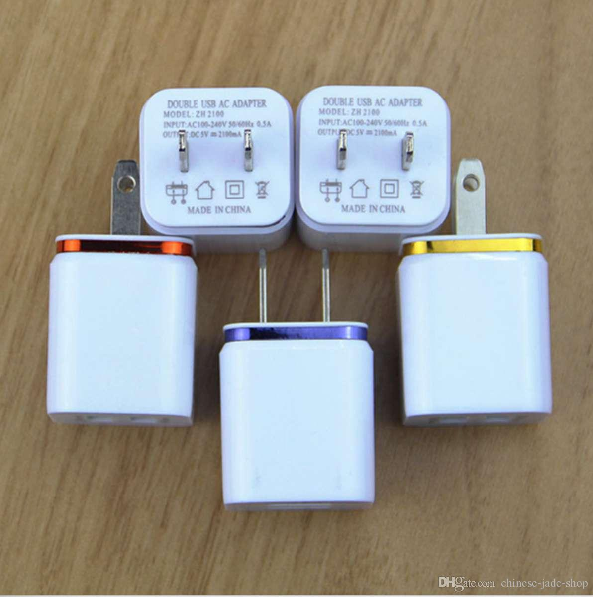 US Plug Metal Dual USB Wall Chargers AC Adapter 5 V 2.1A voor Smart Phone Pad /