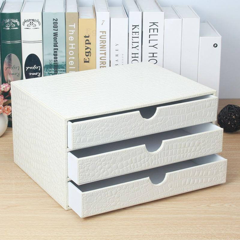 2018 Whole Office 3 Drawer Wooden Leather Desk A4 File Cabinet Box Table Organizer Doent Holder Rack Tray Crocodile White 217e From Huayama
