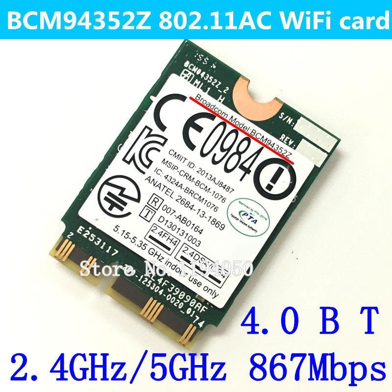 Wholesale- NEW Broadcom Original WIFI Wireless AC BCM94352Z M 2 NGFF  802 11AC 867 Mbps Bluetooth wifi BT 4 0 Wlan adaptador card BCM94352