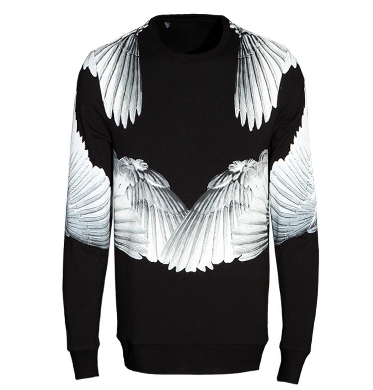 eebb5383bae 2018 Wings Printing Mens Pullover Sweatshirt Cashmere Thickened Trend Coat Angel  Wings Long Sleeve Casual Sweatshirts Top Clothing From Sinofashion