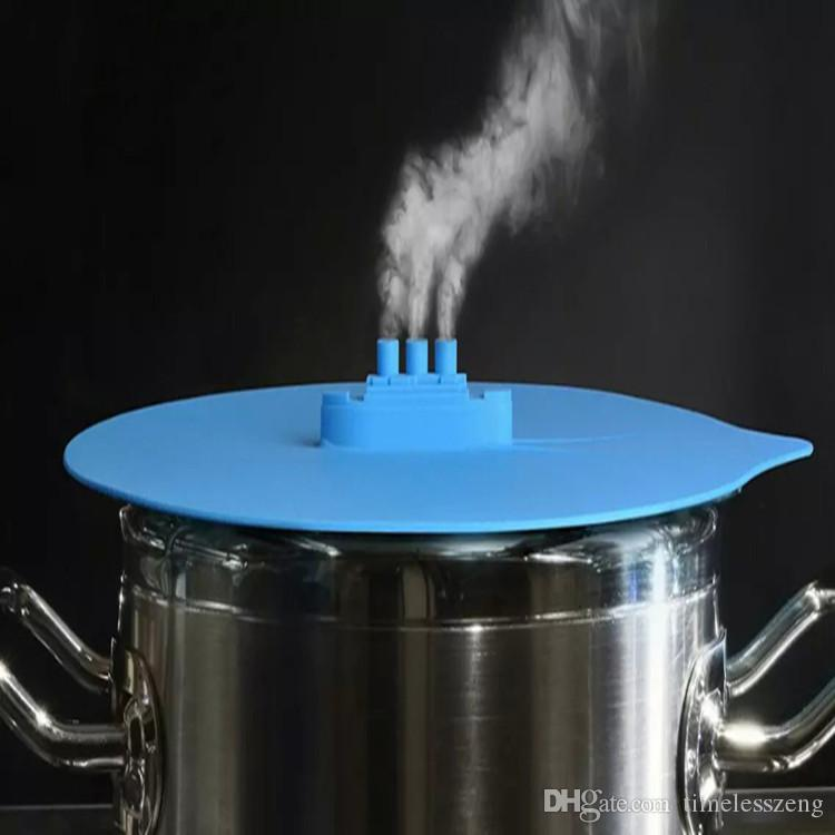 Creative Steam Ship Steaming Lid Universal Silicone Pot Cover Pan Cooking Tool Pan Lid Boil Over Spill Stopper Cover Safe Kitchen Tool