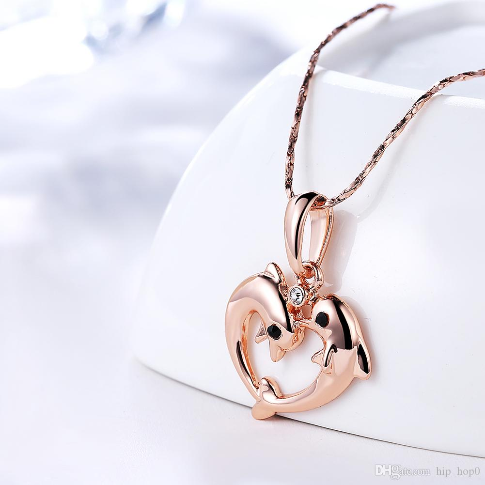 Newest Animal Pendant Necklace Double Dolphin Heart Inlaid Rhinestone Necklace 18K Gold Plated Rose Gold Jewelry Cute Gifts for Women Girls