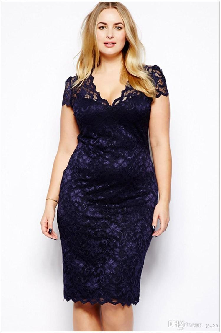 8380bbdc 2019 Plus Size Fashion Women Midi Dress V Neck Floral Lace Bodycon Pencil Dress  Dark Blue Large Size : M 4XL From Guss, $15.08 | DHgate.Com