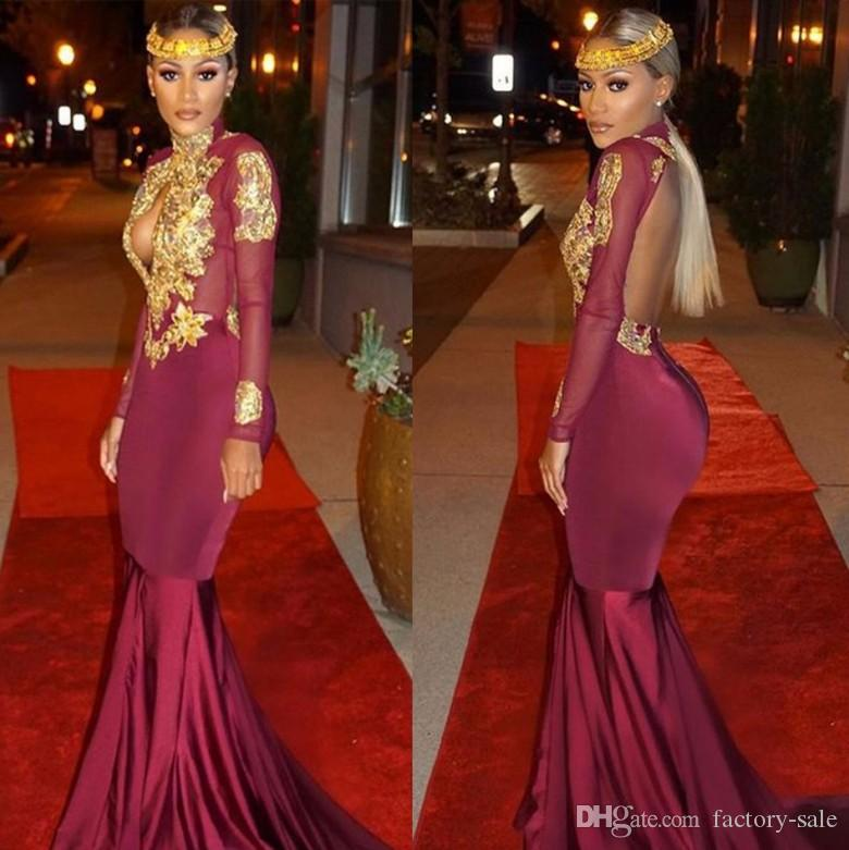 2017 Burgundy Mermaid Prom Dresses High Neck Sexy Hollow Out Backless Long Sleeves Gold Appliques Vintage Evening New South African Multi Colored