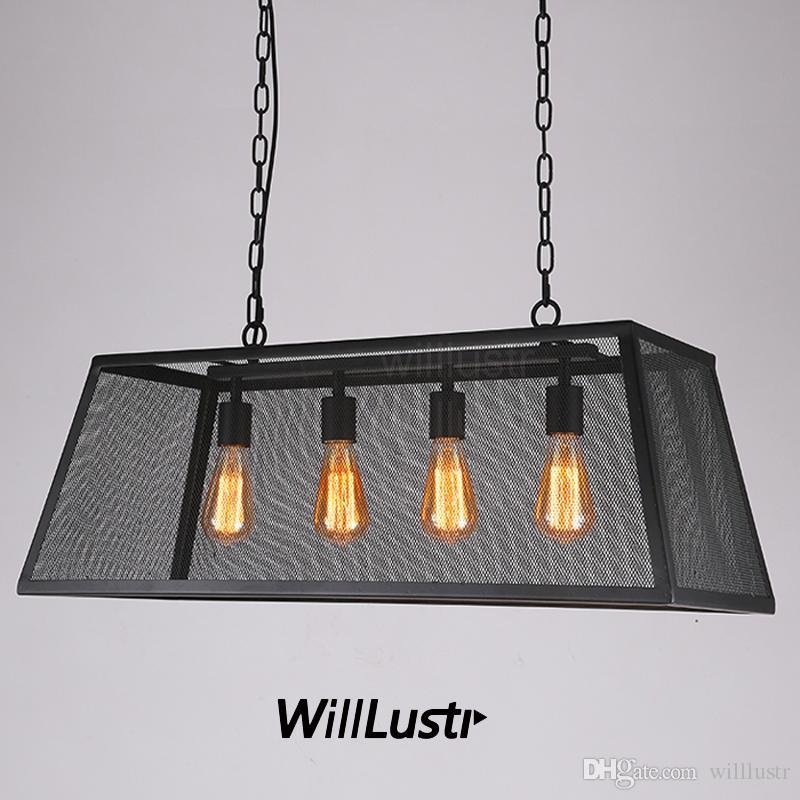 Trapezoid Iron Net Pendant Lamp Trapezium Hanging Lighting Long ...