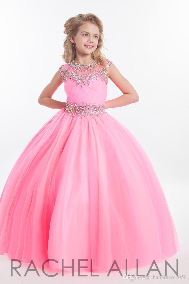 Compre Pretty Pink Blue Tulle Jewel Beads Vestidos De Niña De Las ...