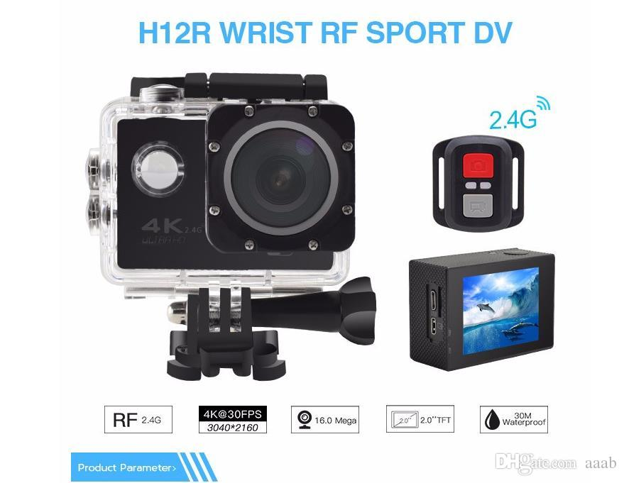 RF 2.4 Remote Control 4K 30FPS Sport DV H12R 30M Waterproof Action Camera WIFI Control 2.0'' Display Sport Camera 6-color fine retail packag