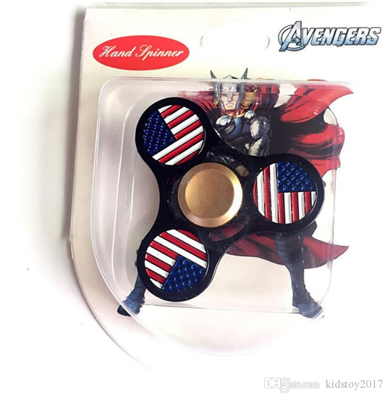 Hand Spinner Fidget Metal American flag EDC Stress Reliever Fun Toy For Decompression Anxiety Finger Spinner Toys