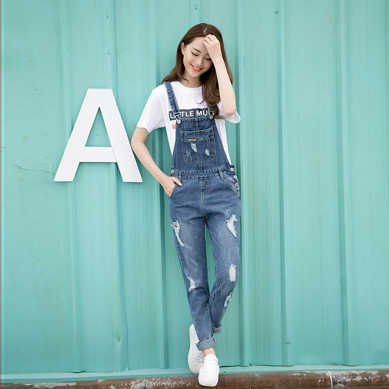 Wholesale Spring Fashion Ripped Jeans Jumpsuits Ladies Girls Long