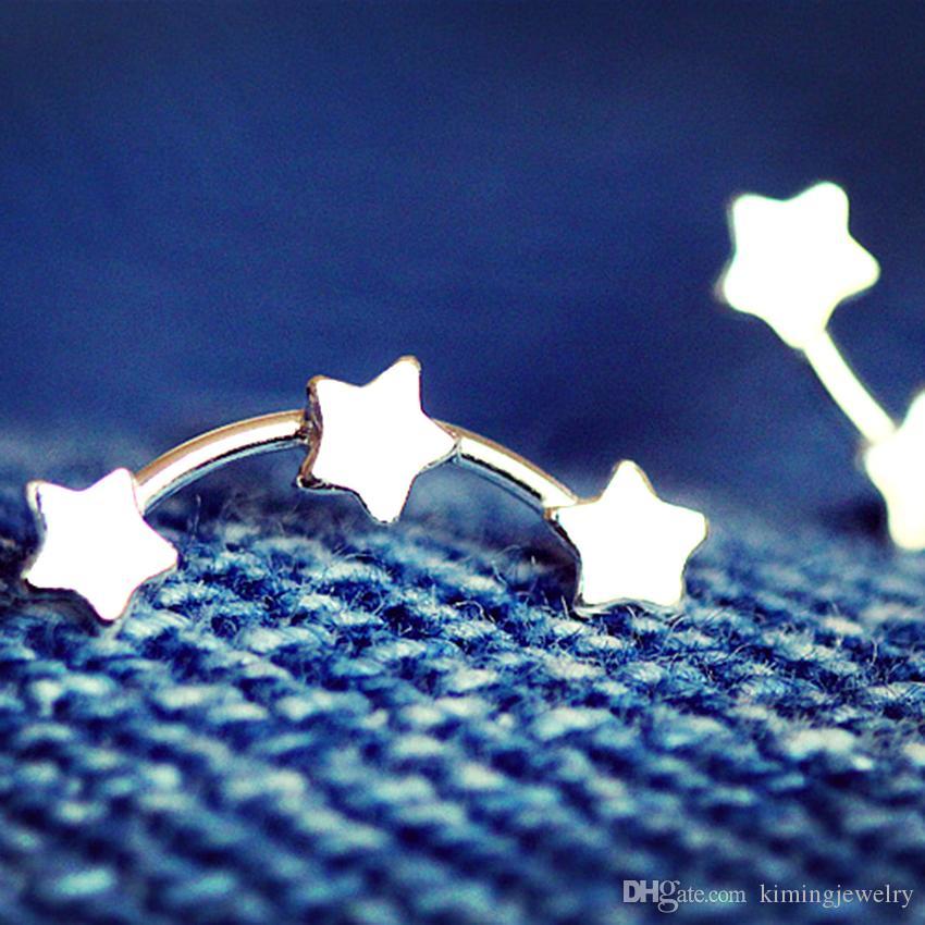 Trendy Pure 925 Sterling Silver Lovely Little 3 Stars Stud Earrings for Women Sterling Silver Jewelry