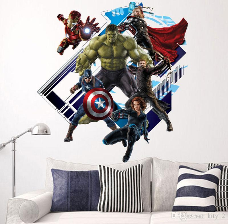 Cartoon The Avengers Super Hero Wall Stickers Home Decor Kids - Large superhero wall decals