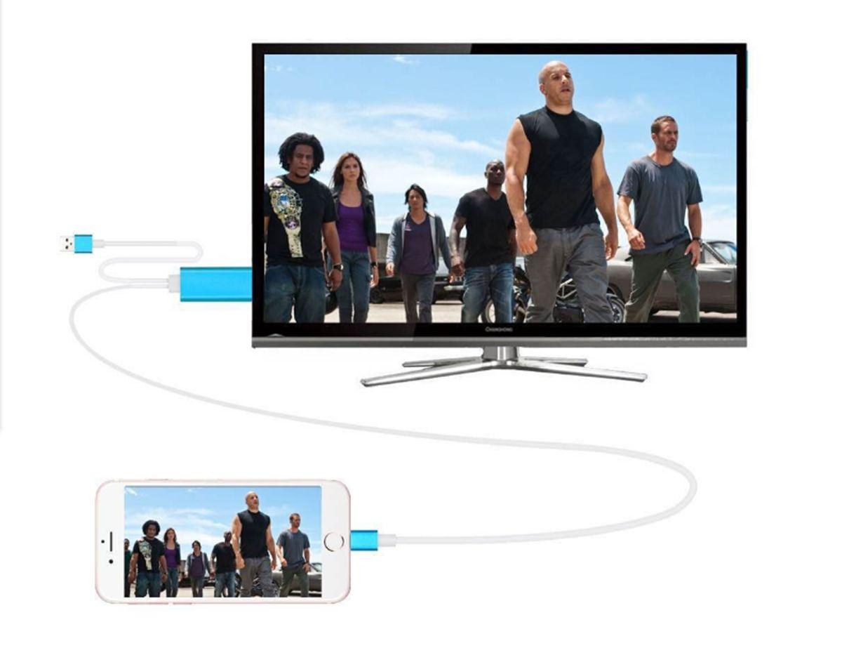 6FT 2M Téléphone Écran Vidéo vers HDMI pour iPhone 5 SE 5C 6 6S 6 Plus 7 PLUS Écran Airplay iPad vers HDMI TV Adaptateur HDTV Câble HDMI /