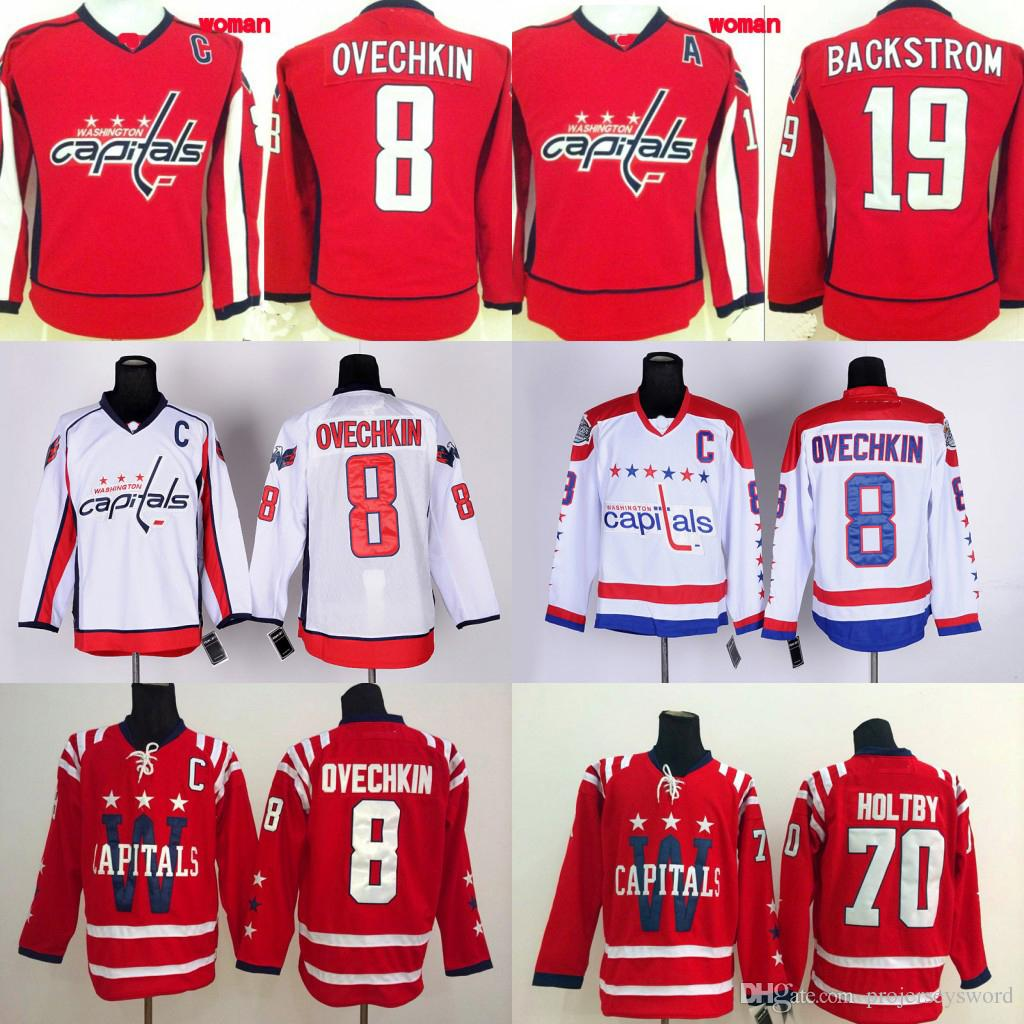 78fcaffc40d Lady Washington Capitals Hockey Jersey  8 Alex Ovechkin  19 Nicklas ...