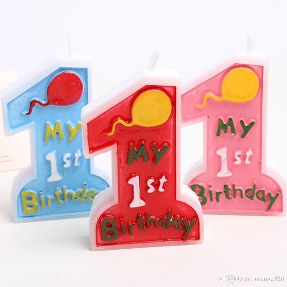 2019 Cute Baby Girl Boy 1st Happy Birthday Cake Candle Number 1 Blue