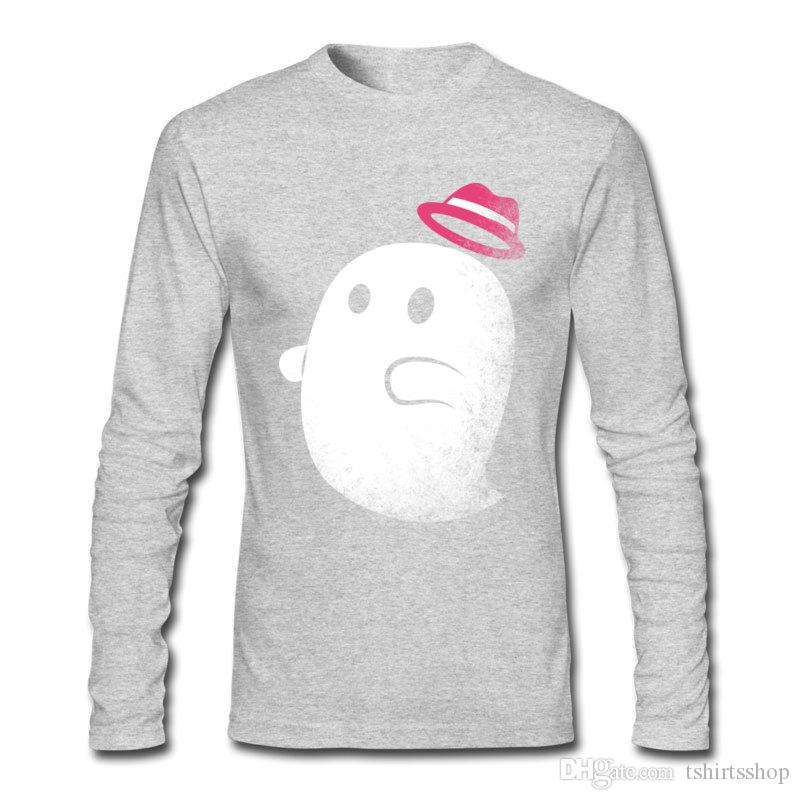 Hottest sale shirts for men funny ghost with a hat on men's T-shirts 100 percent cotton comfortable shirts