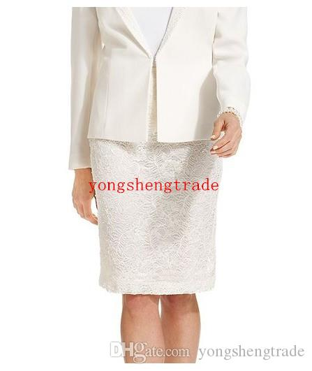 High Quality Business Suit For Women Custom Made Ivory Women Suits Lace Skirt Stand Lapel For Any Occasion