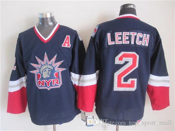 New York Rangers 36 Glenn Anderson Maglia Uomo Hockey 2 Brian Leetch 3 James Patrick 34 John Vanbiesbrouck Bianco Blu Vintage CCM