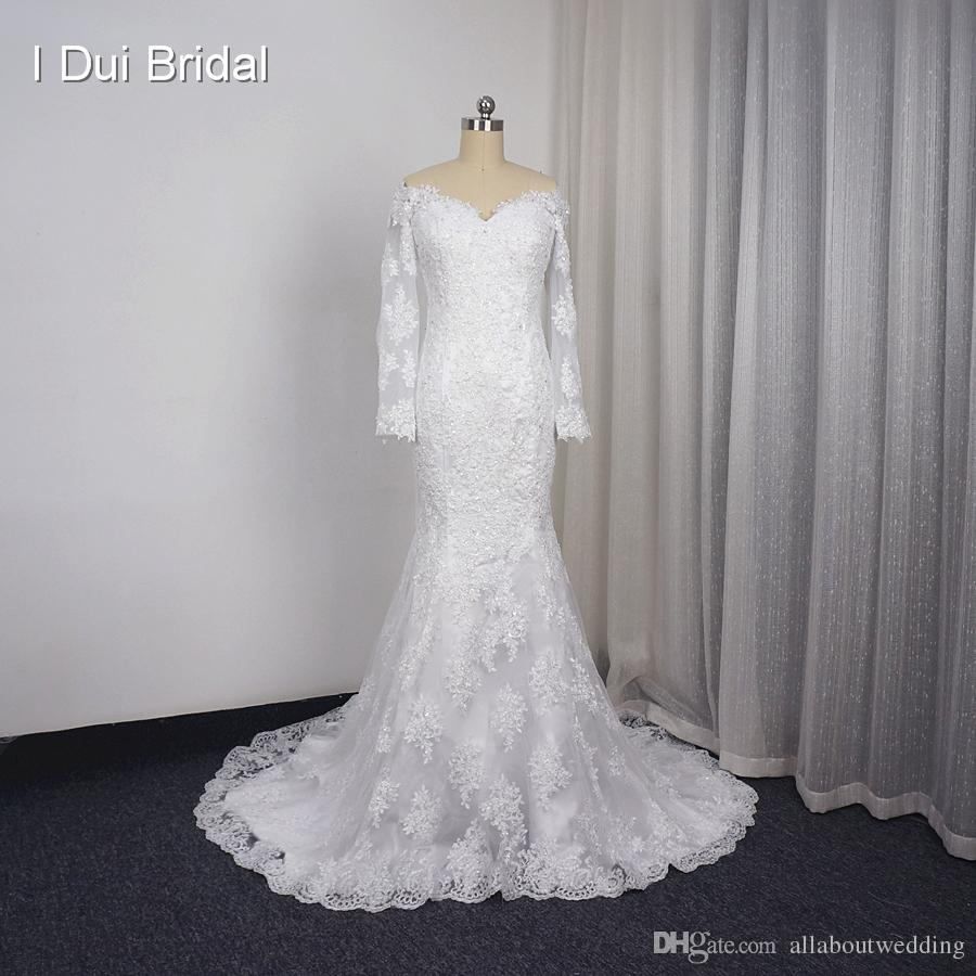 5e38f62276cc Off the Shoulder Long Sleeve Wedding Dresses Real Photo Lace Appliqued  Sequin Beaded High Quality Bridal Gown Custom Made Long Sleeve Wedding Dress  Off the ...