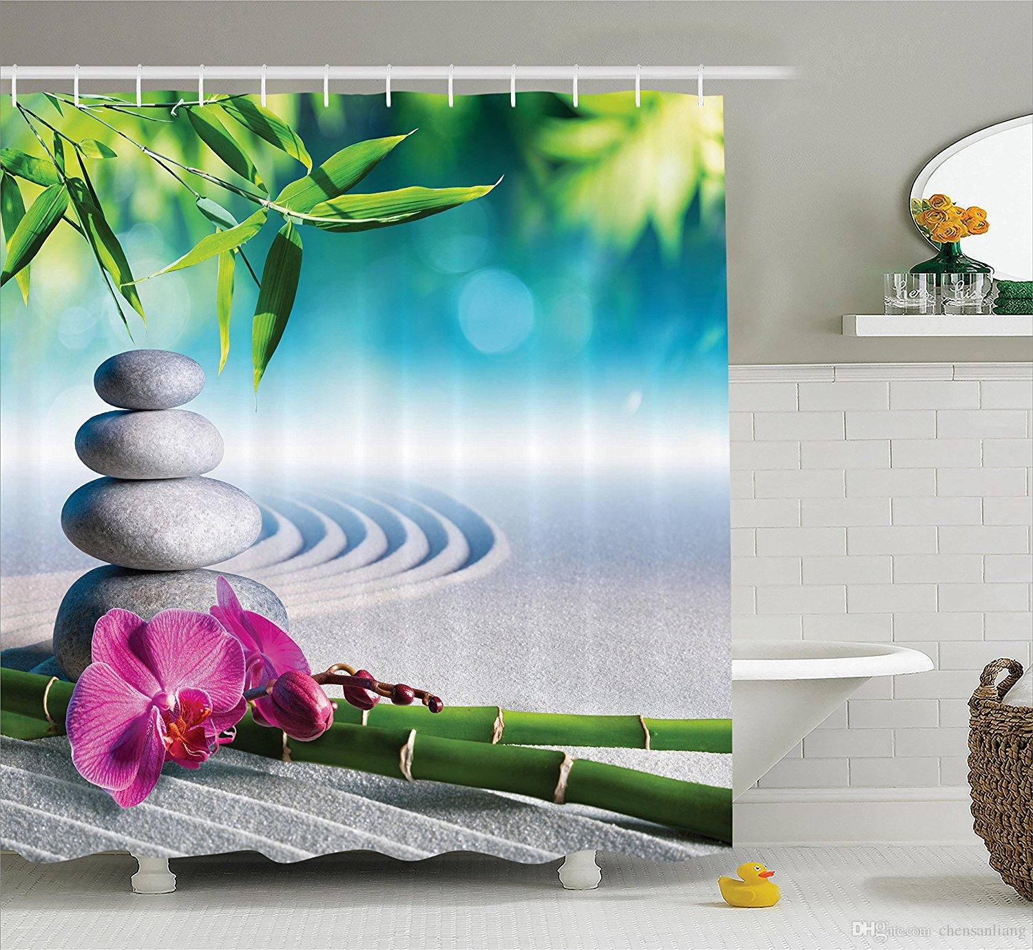 2018 Shower Curtain Stones In Zen Garden Orchid Bathroom Polyester Curtains Waterproof Antibacterial With 12 Hooks Bath From Chensanliang
