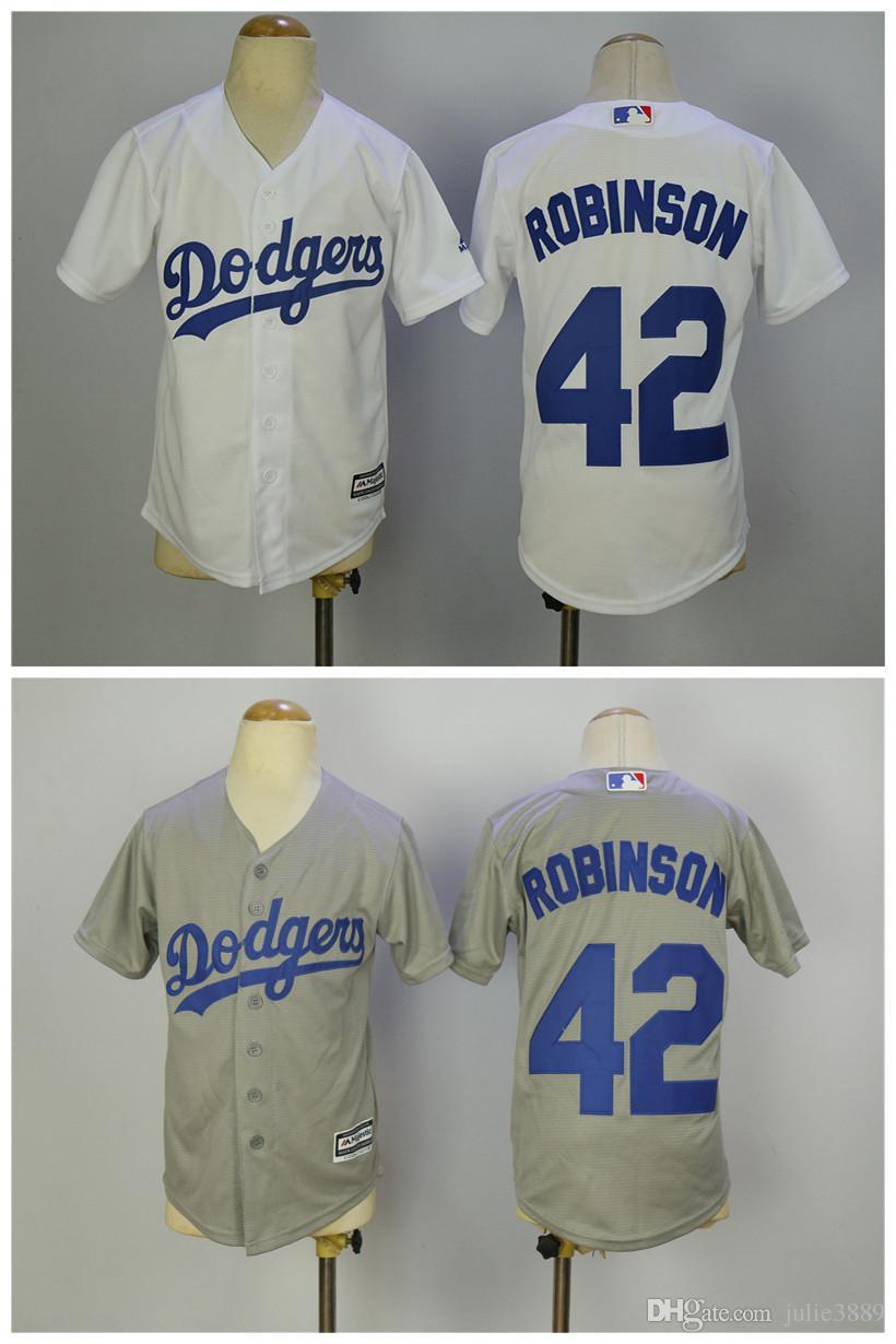 2019 Youth LA Los Angeles Dodgers 42 Jackie Robinson Jersey White Grey Boys  Cool Base Kids Boy Child Stitched Baseball Jersey From Julie3889 f134de8de69