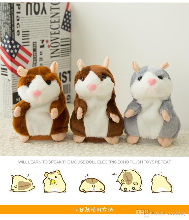 Nette 15 cm Anime Cartoon Sprechen Hamster Plüsch Spielzeug Kawaii Sprechen Reden Tonaufnahme Hamster Sprechen Spielzeug für Kinder