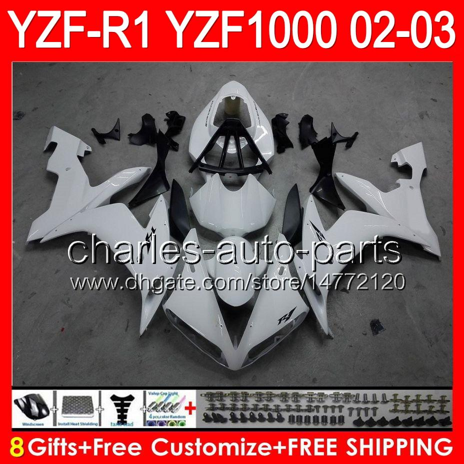 8gifts Body YAMAHA YZFR1 02 03 YZF1000 YZF-R1 02-03 bianco lucido 92NO9 YZF 1000 YZF-1000 YZF R 1 YZF R1 2002 2003 Carenatura bianco nero