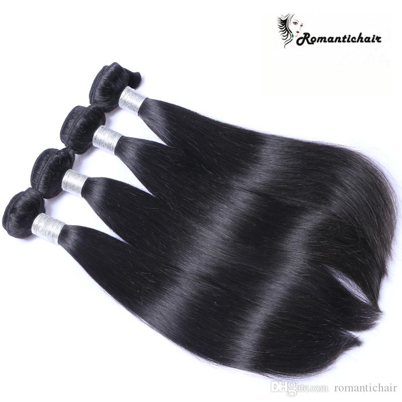 Romântico! Grau 8A Cabelo Virgem Brasileiro Em Linha Reta Pacotes Brasileiros Extensões de Cabelo Humano Cor Natural 8-28 polegada cabelo Grande qualidade