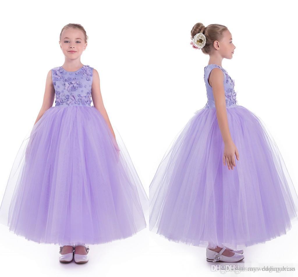 Compre 2017 Vestidos De La Muchacha De Flor Púrpura Para Bodas Con ...