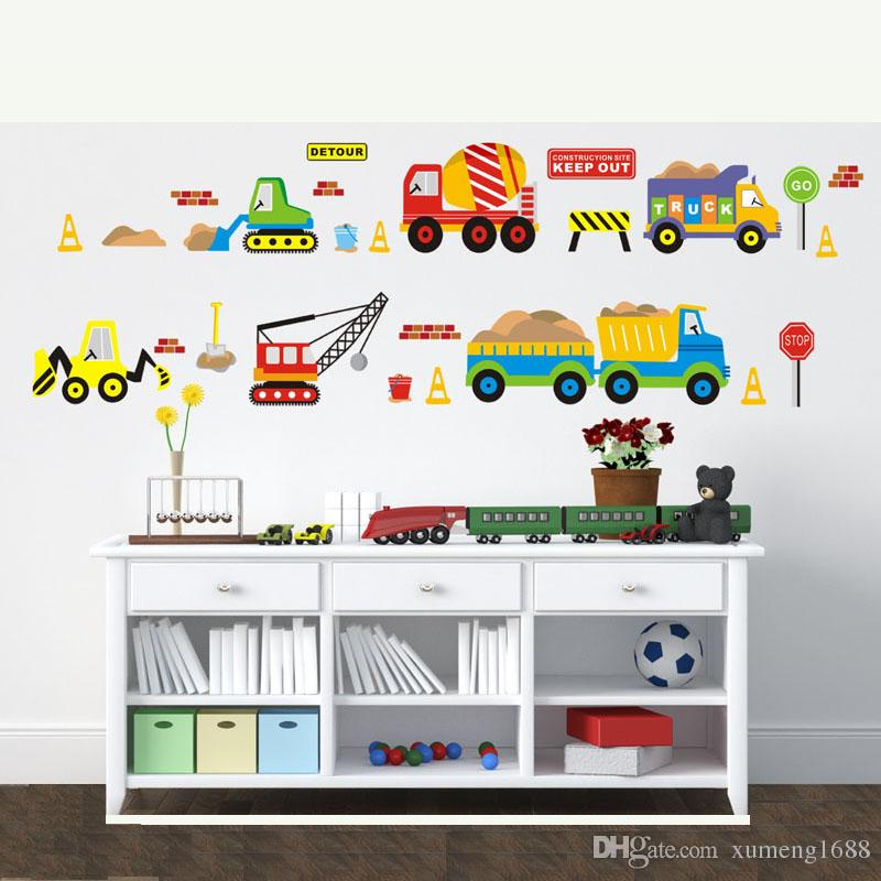 cartoon forklift wall stickers child room pvc wall stickers for kids