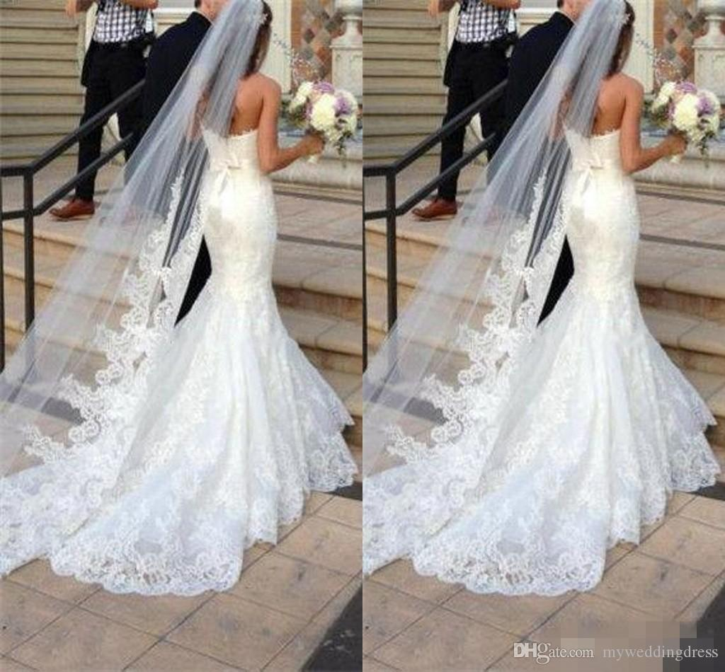 Wedding Gown Veil: 2017 Cheap One Layer Bridal Veils Ivory Lace Applique