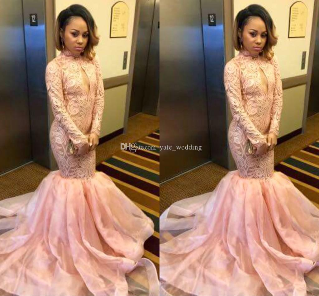 Pale Pink Mermaid Prom Dresses 2017 High Neck Long Sleeves Lace ...