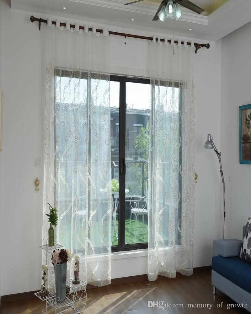 Elegant Yellow White Window Sheer Curtains Voile For Living Room Bedroom Dust Proof Embroidered Fabric Wholesale Price Free Ship Patterned