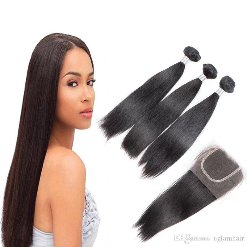 Beautiful Dollafce Raw Indian Hair Natural Straight Virgin Hair Weave Bundles Hair Extension Natural Color Free Shipping Hair Extensions & Wigs Salon Hair Supply Chain