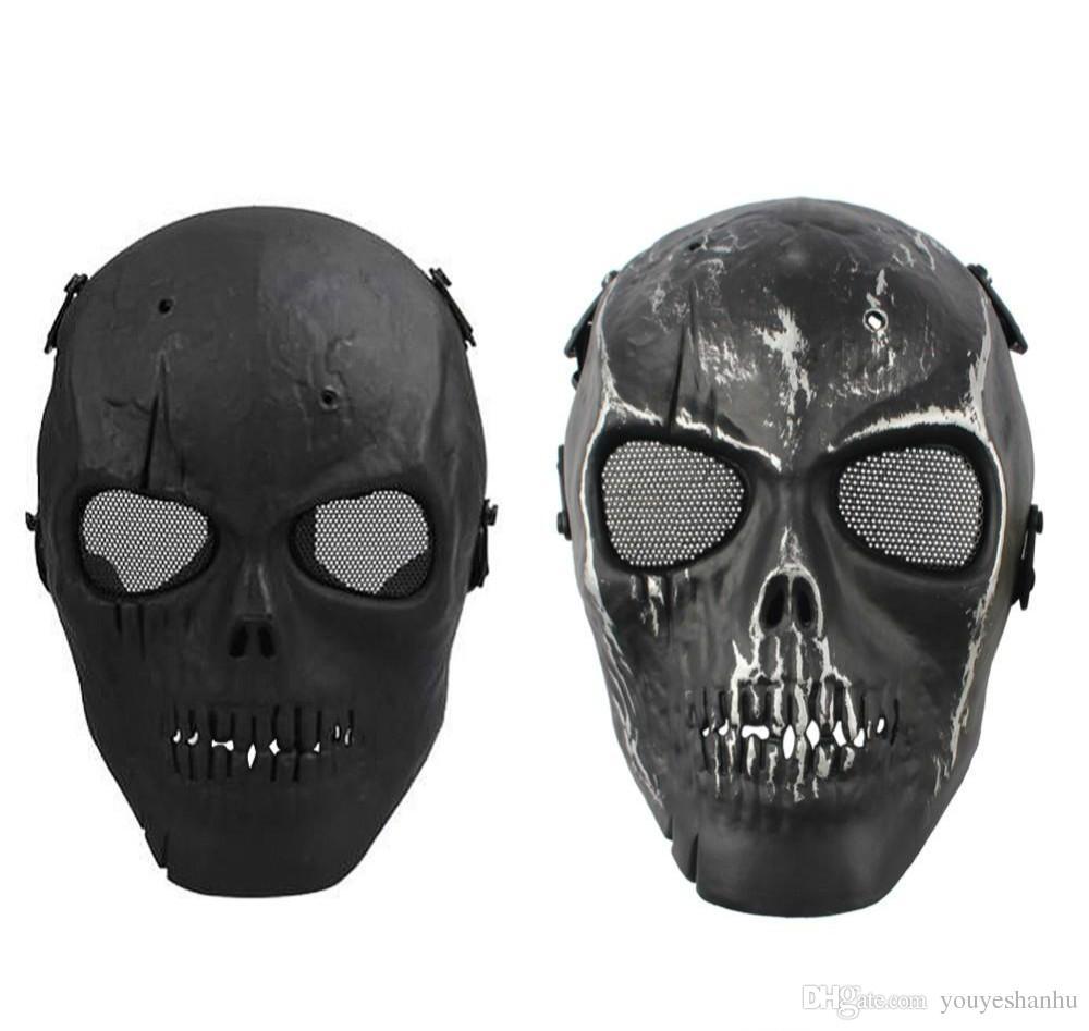 2016 Malha Do Exército Máscara Completa Máscara de Esqueleto Do Crânio Airsoft Paintball BB Gun Jogo Proteger a Máscara de Segurança