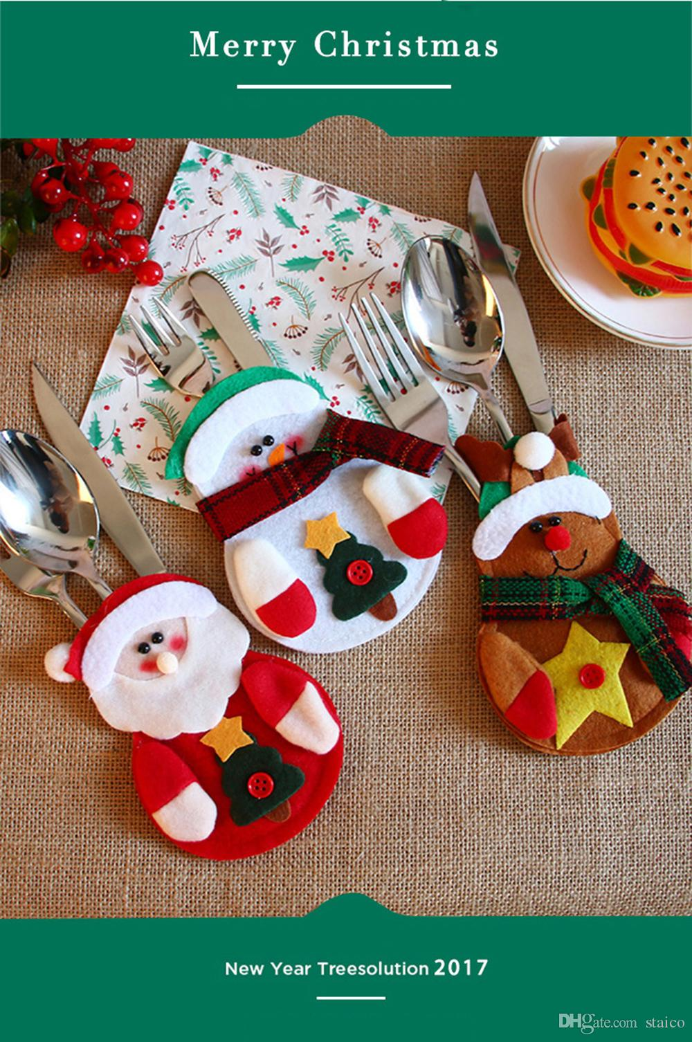 Fournitures De Décoration De Noël Restaurant Vaisselle Décorations Bonhomme De Neige Argenterie Supports Couteau Et Fourche Sacs De Noël Décor MC11