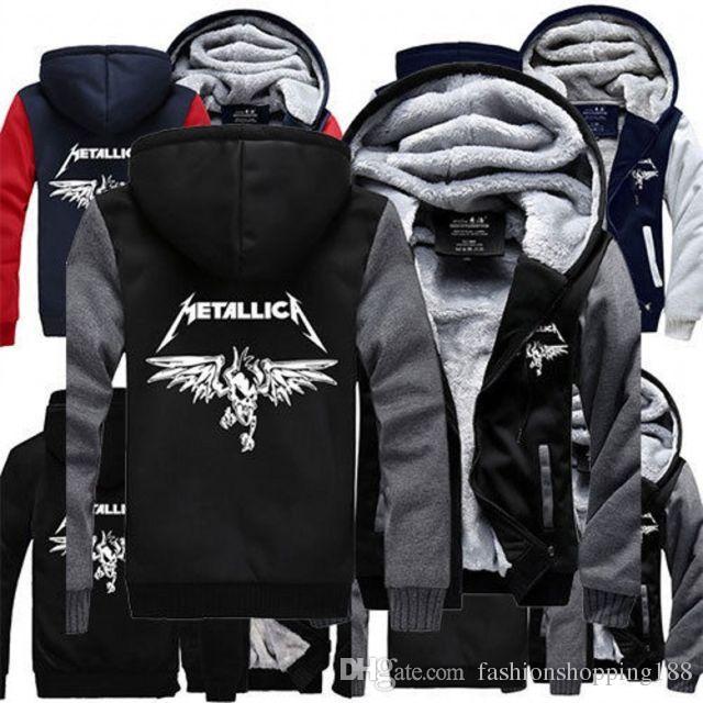 2018 Wholesale- Hot New Comics Winter Fleece Unisex METALLICA Hoodie Zipper Coat Men Thicken Jacket Sweatshirts