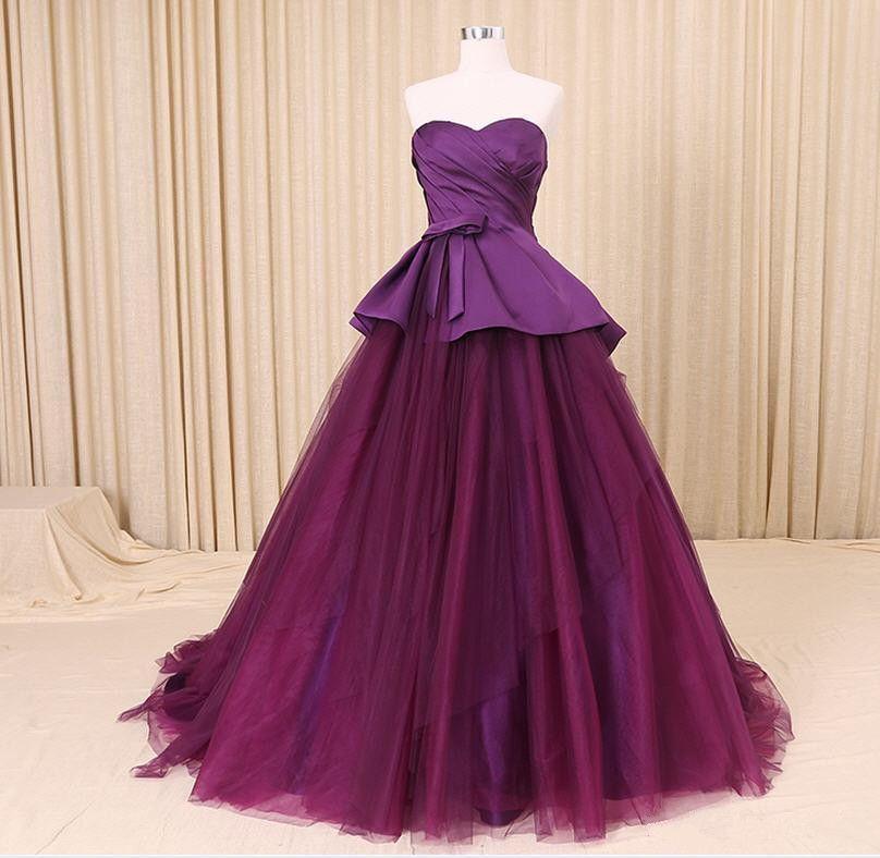 Compre Vestido De Boda Colorido En Línea Vestido De Novia Púrpura ...