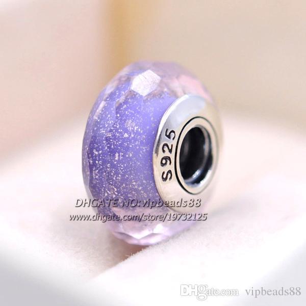 S925 gioielli in argento sterling moda frizzante perline in vetro di Murano con luce viola sfaccettato europeo adatto braccialetti con ciondoli pandora