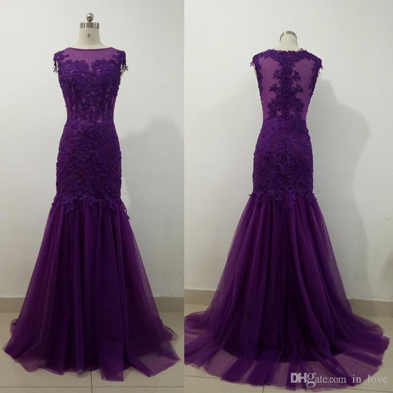 Photo réelle dentelle robes de soirée sirène sans manches bateau cou nouvelle conception simple femmes robe de soirée robe de soirée taille personnalisée