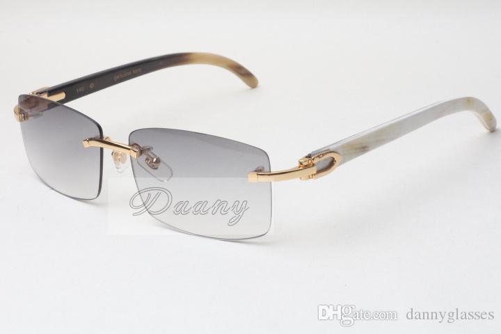 뜨거운 Frameless 선글라스 안경 3524012 자연 믹스 옥스 호른 남성과 여성 선글라스 안경 안경 : 56-18-140mm