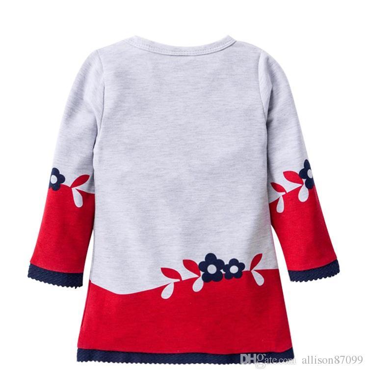 Autumn dresses for girl Girls clothing Cute Fox Prints Lace Flowers dress Long sleeve Winter bottom dresses 2T 3T 4T 5T 6T 2017 Hotsale