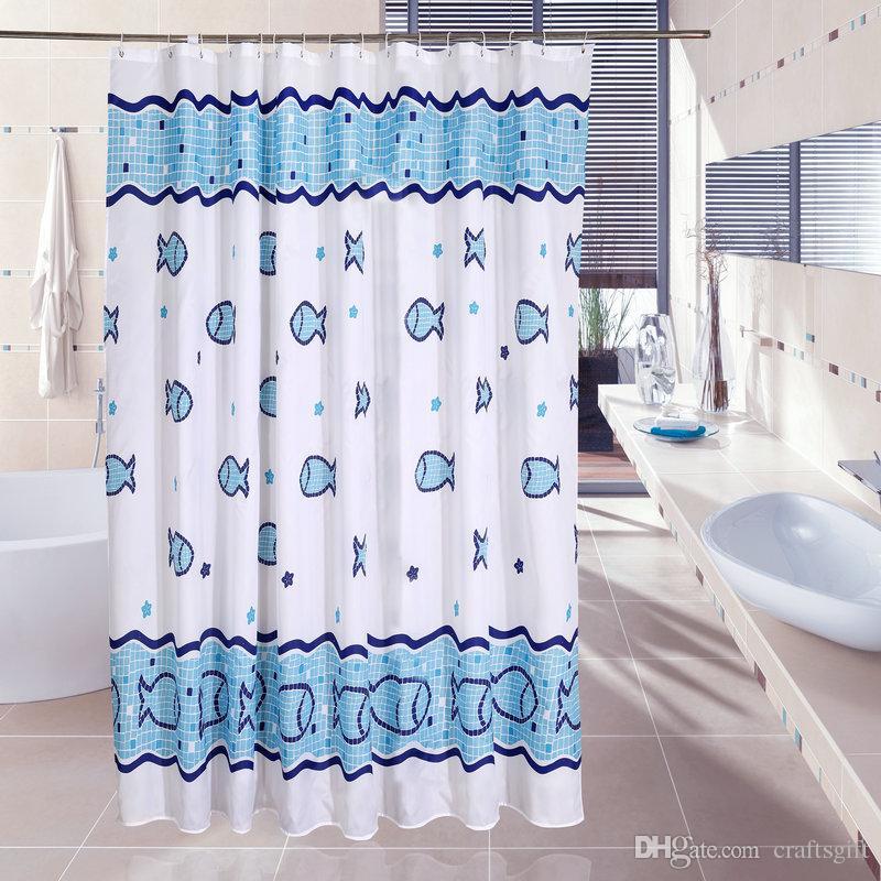 자격을 갖춘 100 % 폴리 에스테르 해피 물고기 샤워 커튼 미국의 물고기 욕실 방수 패션 만화 물고기 샤워 커튼 블루 커튼