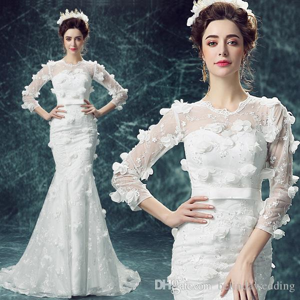 ea168424f2b 3D Floral Long Sleeve Mermaid Wedding Dresses With Cape Handmade Flower  Sexy Sheer Country Bridal Gowns Elegant White Wedding Dress Bridal Shop  Celebrity ...