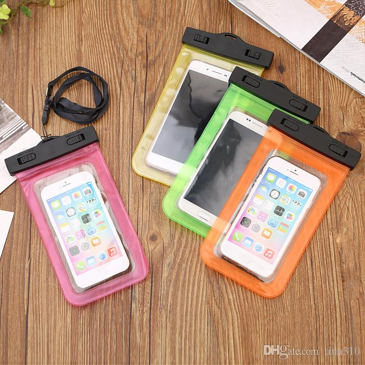Hot Universal For iPhone Sealed Waterproof bag Waterproof Case Mobile Phones Waterproof Dry Cell Neck Pouch Bags IB350