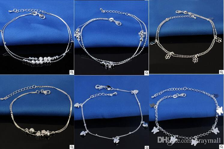 925 Sterling Silver Anklets For Women Ladies Girls Unique Nice Sexy Simple Beads Silver Chain Anklet Ankle Foot Jewelry Gift