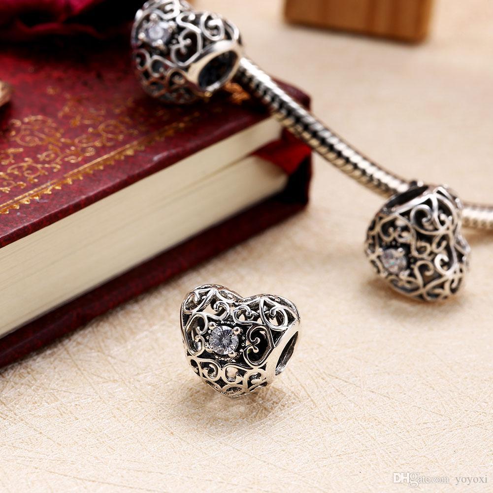 925 Sterling Silber Liebes Charm Mit Klaren CZ Weißen Kristall Charms Openwork Fit Original Armband Frauen Anhänger DIY Schmuck