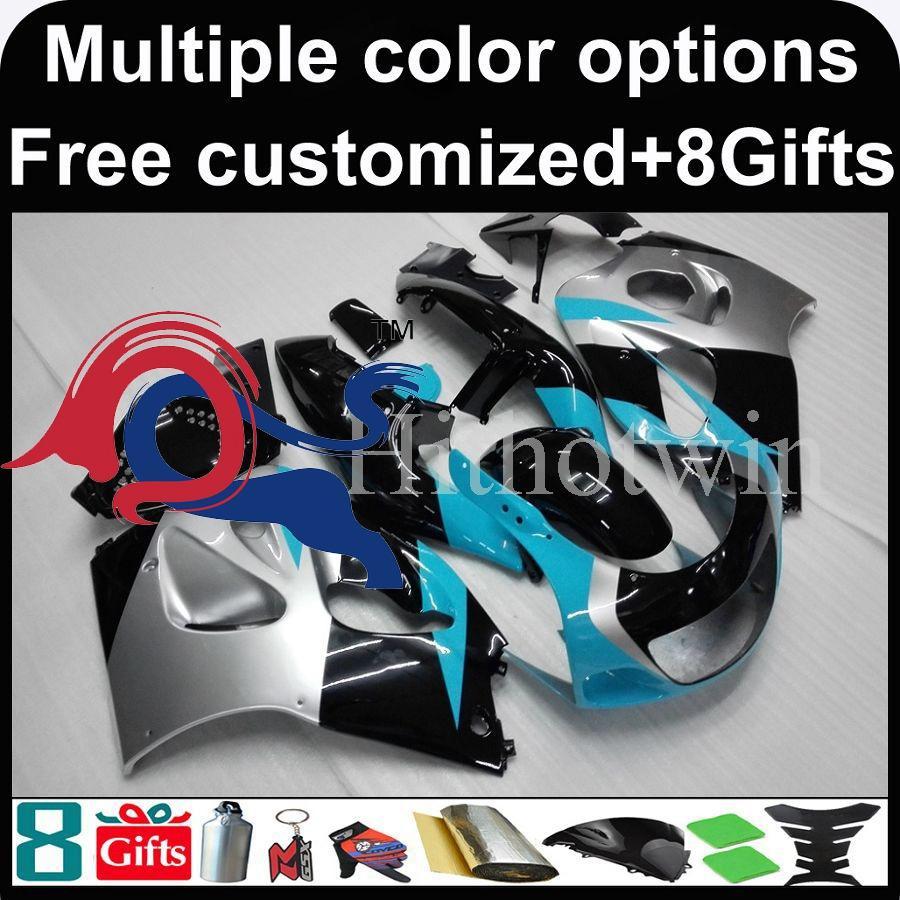 Light blue black silver motorcycle cowl for Suzuki GSX-R600750 1996-2000 96  00 GSXR750 1996 1997 1998 1999 2000 ABS Plastic Fairing