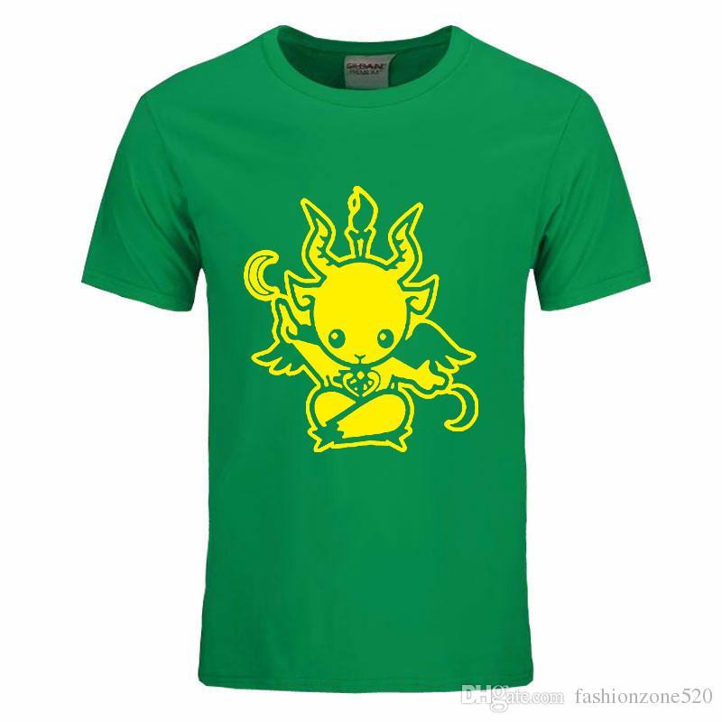 Estilo do verão Satanic Cabra Baphomet dos desenhos animados T Shirt Dos Homens de Algodão de manga curta Impresso T-shirt Ocasional O-pescoço tshirt