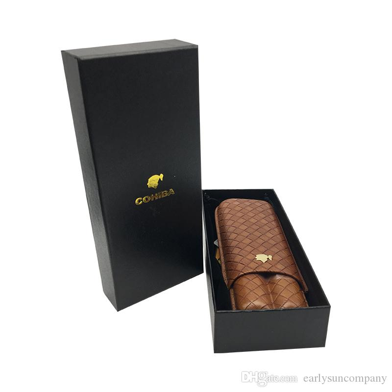 High Quality Brown Color Cigarette Humidor Accessories COHIBA Genuine leather Travel Cigar Humidor for smoking Cigarette